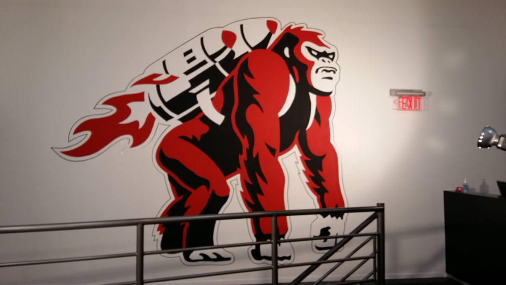 Hand-painted gorilla on office wall