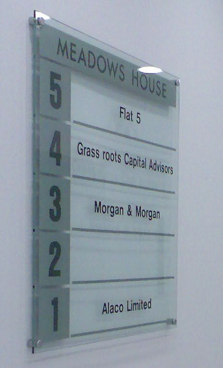 Glass directory sign