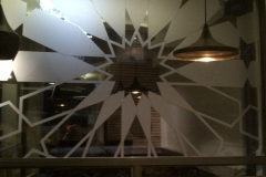 frosting effect vinyl design on restaurant window
