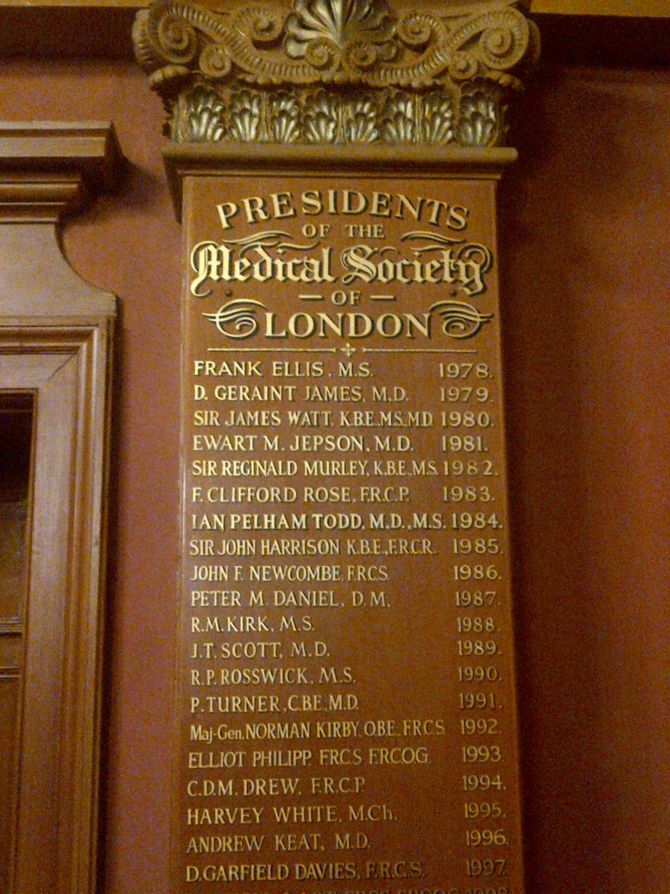 Medical Society, London 2013