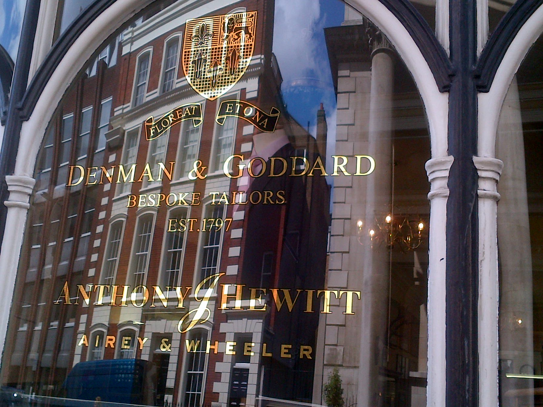 Gilded lettering at Savile Row, London 2013