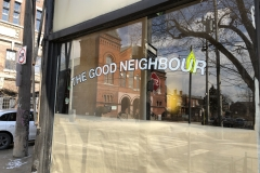 Painted lettering on window