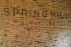 Hand-painted and distressed lettering at Spring Mill Distillery, Guelph, Ontario