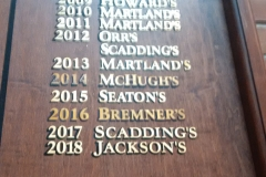 Hand-painted additions in gold leaf onto existing honours board at Upper Canada College, Toronto